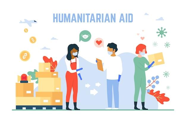 Humanitaire hulp coronavirus concept
