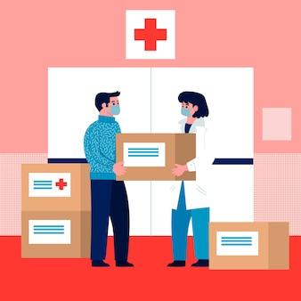 Humanitaire hulp illustratie thema
