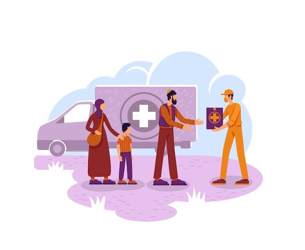 Humanitaire hulp illustratie