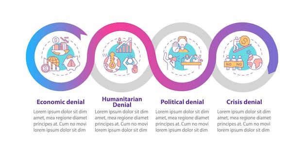 Humanitaire ontkenning vector infographic sjabloon. politieke ontkenning presentatie schets ontwerpelementen. datavisualisatie met 4 stappen. proces tijdlijn info grafiek. workflowlay-out met lijnpictogrammen