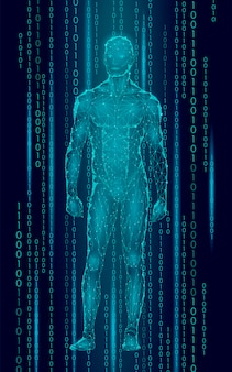 Humanoïde android man staande cyberspace binaire code, kunstmatige robot