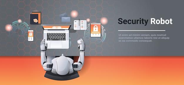 Humanoïde met behulp van digitale apparaten cyberbeveiligingsnetwerk