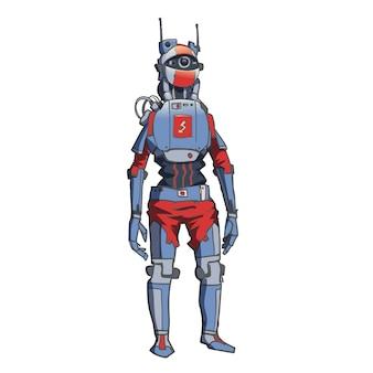 Humanoïde robot, android met kunstmatige intelligentie. illustratie op witte achtergrond.