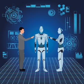 Humanoïde robot en zakenman