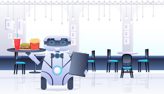 Humanoïde robotkelner draagt dienblad met eten en drinken in restaurant kunstmatige intelligentie technologie concept café interieur horizontale illustratie