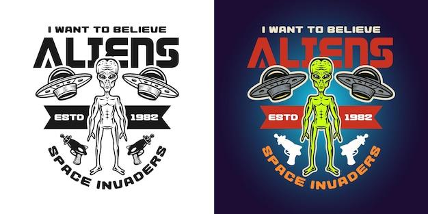 Humanoïde vector embleem, badge, label, logo of t-shirt print in twee stijlen, zwart-wit en gekleurd