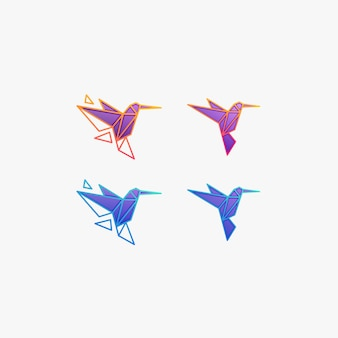 Humming bird flying geometrische illustratie logo