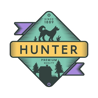 Hunter camp retro kleur logo sjabloon. recreatiepark vintage symbool. hond silhouet