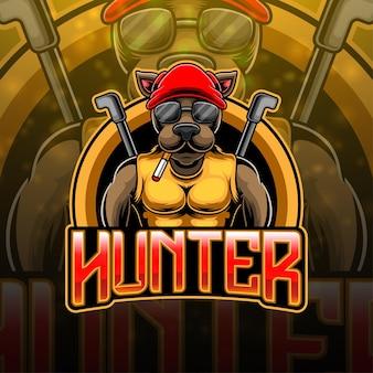 Hunter esport mascotte logo ontwerp