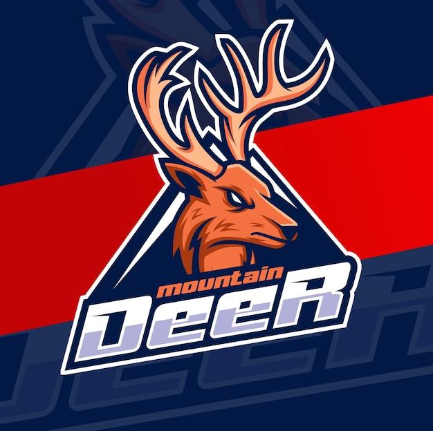 Hunter herten hoofd mascotte karakter logo ontwerp voor jager logo idee