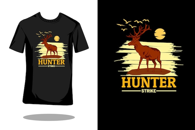 Hunter strike silhouet vintage t-shirt ontwerp