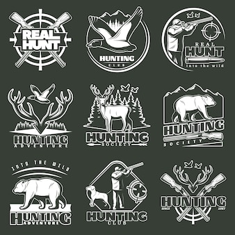 Hunting club logo set