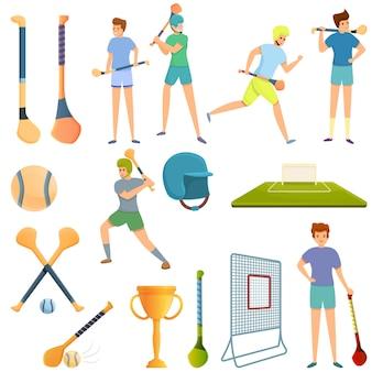 Hurling iconen set, cartoon stijl