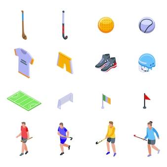 Hurling iconen set, isometrische stijl