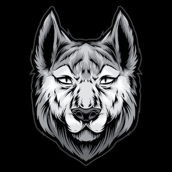 Husky hoofd logo illustratie