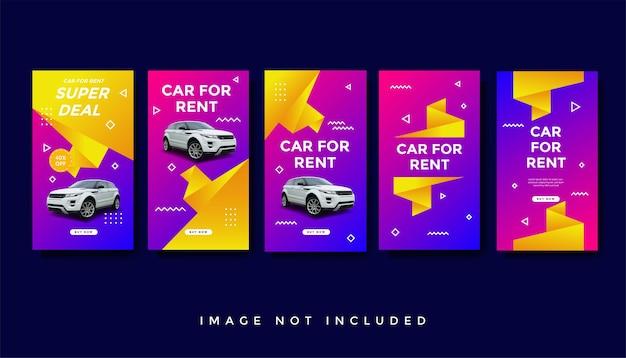 Huur auto instagram verhalen promotie sjabloonverzameling