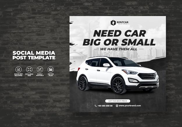 Huur auto voor sociale media post banner luxe sjabloon