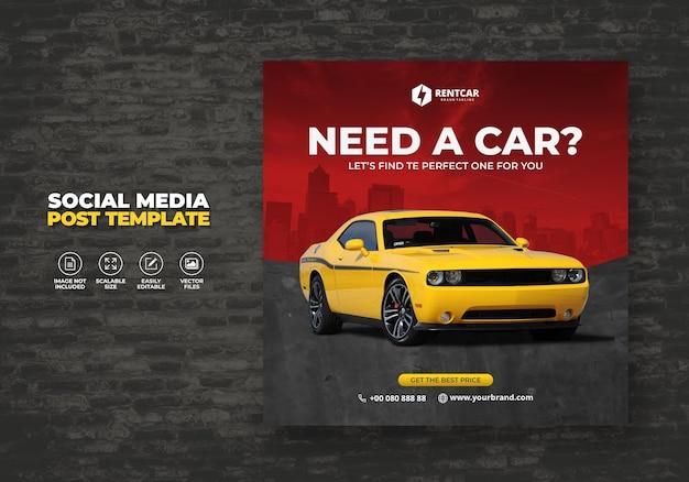 Huur auto voor sociale media post banner moderne promo template