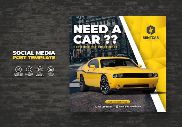 Huur auto voor sociale media post banner nieuwe sjabloon
