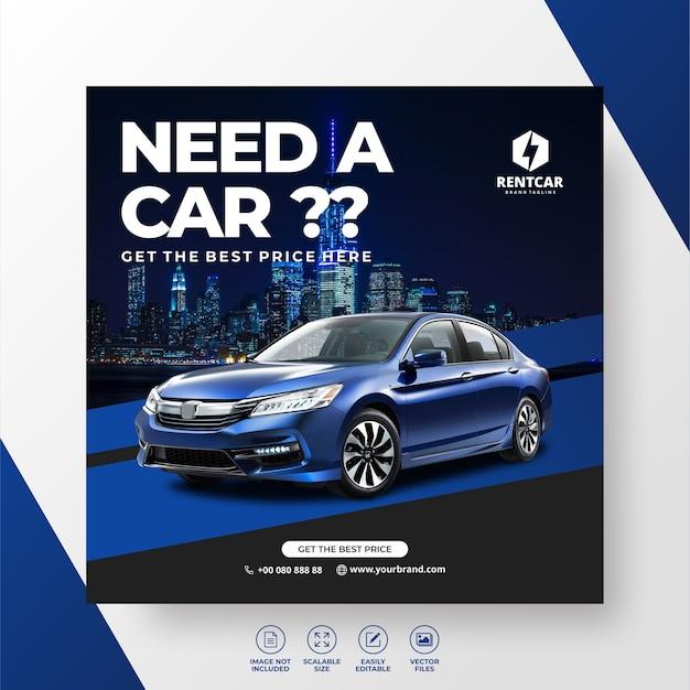 Huur auto voor sociale media post banner promo template
