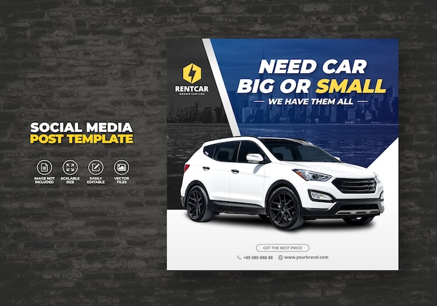 Huur auto voor sociale media post banner promo template