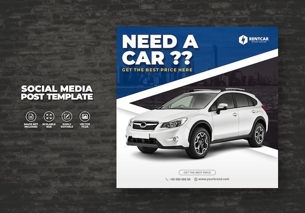 Huur auto voor sociale media post banner sjabloon luxe