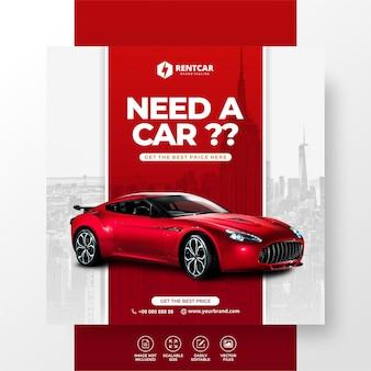 Huur auto voor sociale media post banner sjabloon