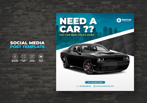 Huur auto voor sociale media post banner template truck