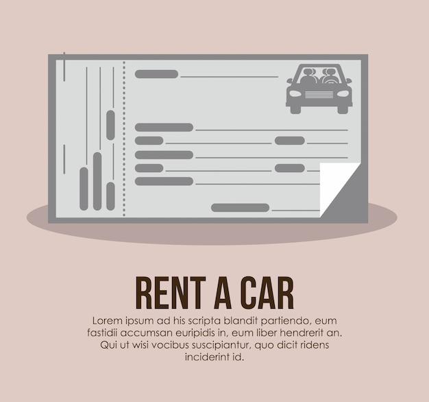 Huur een auto over beige vectorillustratie als achtergrond