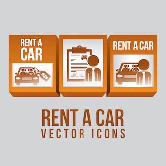Huur een auto over witte vectorillustratie als achtergrond