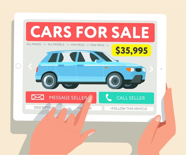 Huur een auto. tablet met interface