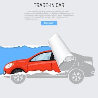 Huur, inruil en koop autobanner met nieuwe auto uit gat in gescheurd papier. vlakke stijl vectorillustratie