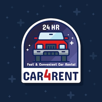 Huurautodienst badge sticker banner