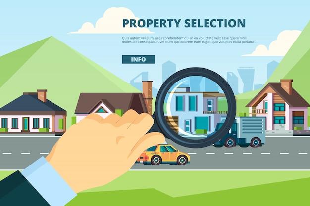 Huurhuis. zoeken naar nieuw modern herenhuis woningverkoop hypotheek onroerend goed bedrijfsconcept