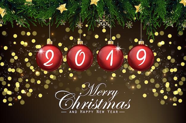 Huw kerstmis en gelukkig nieuwjaar 2019 achtergrond