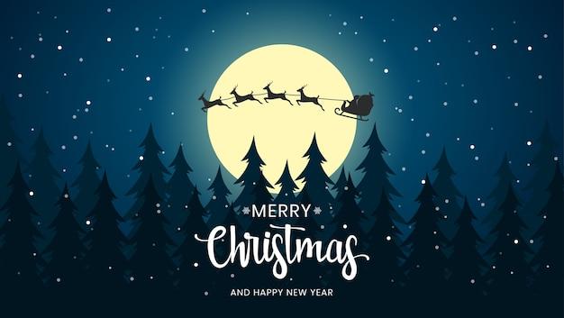 Huw kerstnacht met de kerstman backround Premium Vector