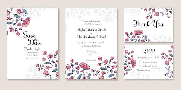 Huwelijk bewaar de datum, uitnodiging, bedankt, rsvp-kaart
