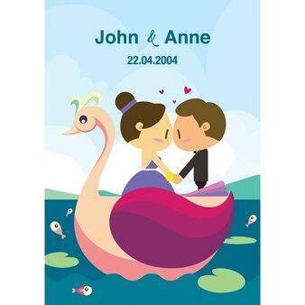 Huwelijk het paar bevindt zich op een zwanenboot.