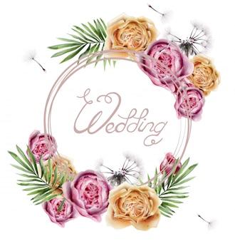 Huwelijk met kleurrijke rozen in waterverf