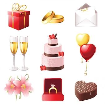 Huwelijk pictogrammen
