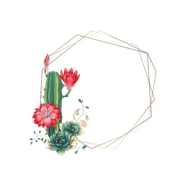 Huwelijks kleurrijk kader met succulent en cactussen.