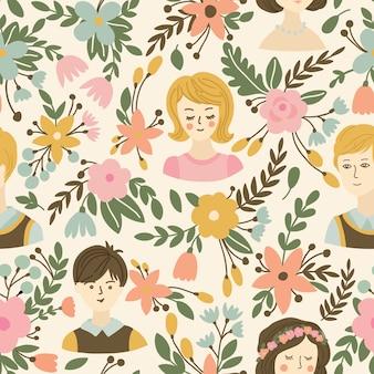 Huwelijks naadloos patroon met bloemen, bruid en bruidegom