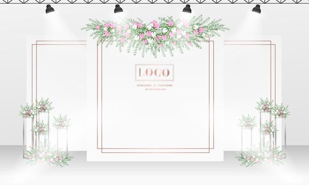 Huwelijks photocall ontwerp als achtergrond met wit en roze gouden kleurenthema.