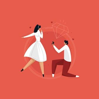 Huwelijksaanzoek illustratie
