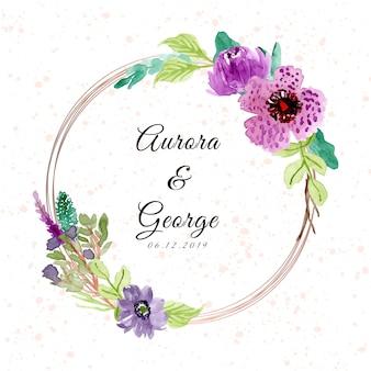 Huwelijksbadge met purper bloemenwaterverfkader