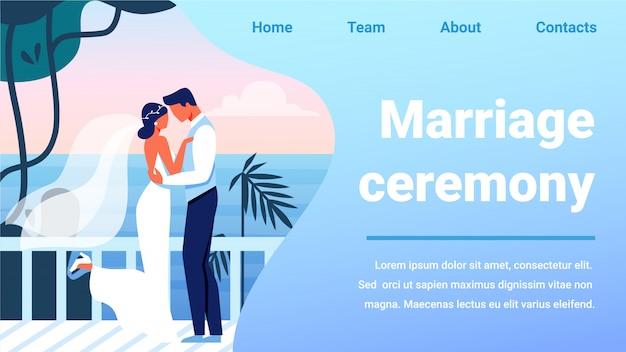 Huwelijksceremonie banner, bruidegom kussende bruid