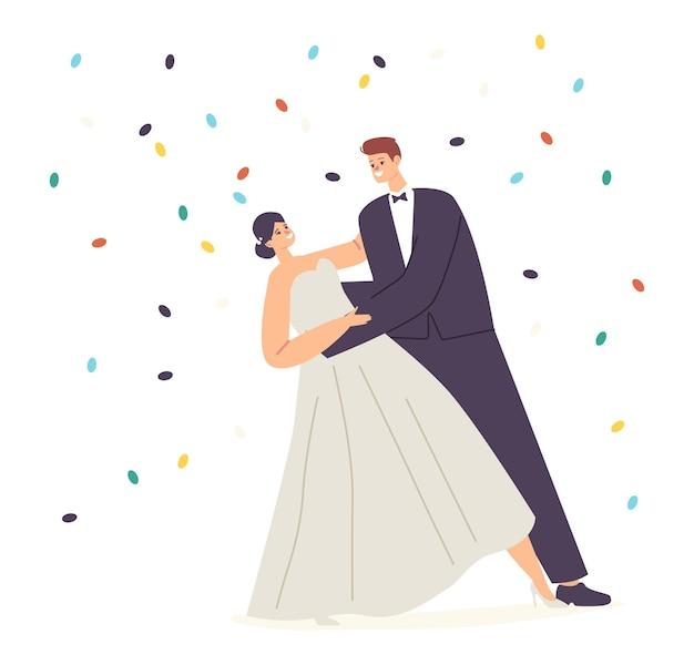 Huwelijksceremonie, jonge man en vrouw walsen onder vallende confetti. gelukkig jonggehuwde paar uitvoeren bruiloft dansen. bruid en bruidegom karakters dansen. cartoon mensen vectorillustratie