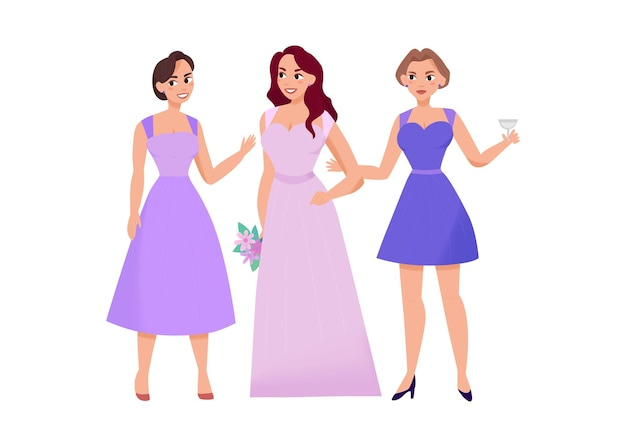 Huwelijksceremonie trouwdag samenstelling met vrouwelijke karakters van vrienden van bruid illustratie