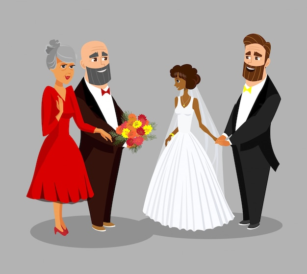 Huwelijksceremonie viering platte tekening.
