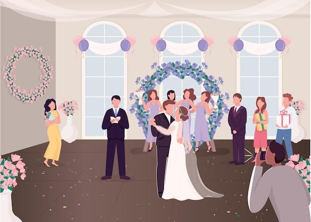 Huwelijksceremonie viering vlakke afbeelding. pas getrouwd stel met gasten. bruid en bruidegom dansen eerste keer stripfiguren met ingerichte feestzaal op achtergrond